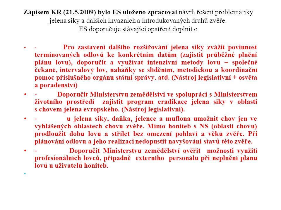Zápisem KR (21.5.2009) bylo ES uloženo zpracovat návrh řešení problematiky jelena siky a dalších invazních a introdukovaných druhů zvěře. ES doporučuj