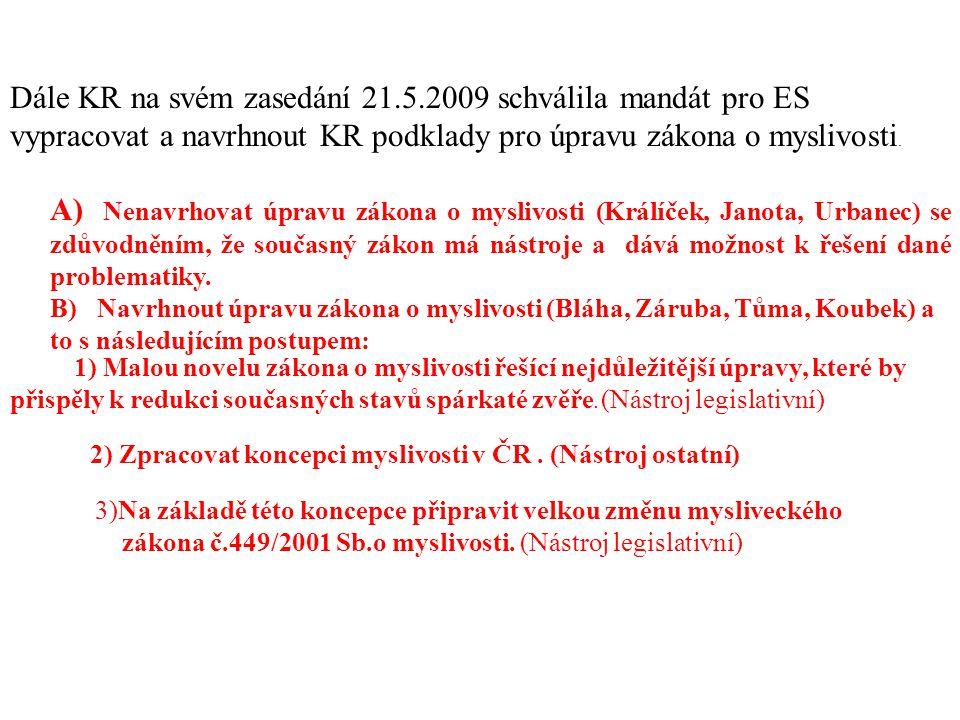 Dále KR na svém zasedání 21.5.2009 schválila mandát pro ES vypracovat a navrhnout KR podklady pro úpravu zákona o myslivosti. A) Nenavrhovat úpravu zá