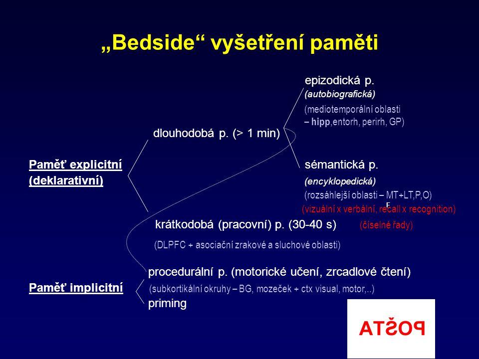 """""""Bedside"""" vyšetření paměti epizodická p. (autobiografická) dlouhodobá p. (> 1 min) Paměť explicitní sémantická p. (deklarativní) (encyklopedická) (viz"""