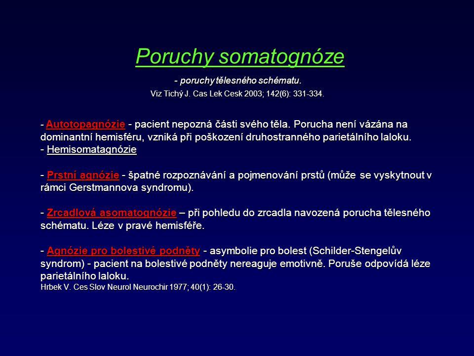 Poruchy somatognóze - poruchy tělesného schématu. Viz Tichý J. Cas Lek Cesk 2003; 142(6): 331-334. - Autotopagnózie - pacient nepozná části svého těla
