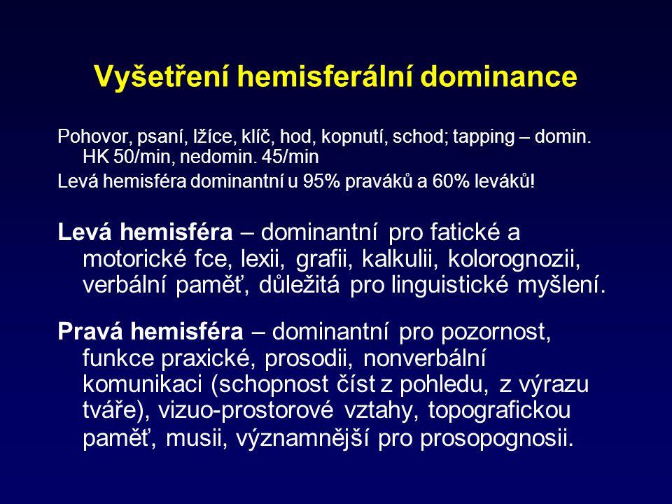 Vyšetření hemisferální dominance Pohovor, psaní, lžíce, klíč, hod, kopnutí, schod; tapping – domin. HK 50/min, nedomin. 45/min Levá hemisféra dominant
