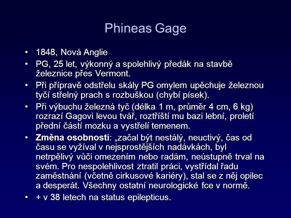 Phineas Gage 1848, Nová Anglie1848, Nová Anglie PG, 25 let, výkonný a spolehlivý předák na stavbě železnice přes Vermont.PG, 25 let, výkonný a spolehl