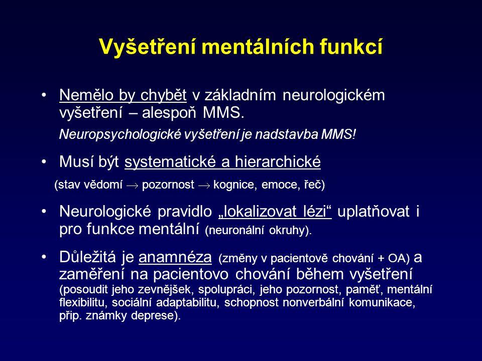 Vyšetření mentálních funkcí Nemělo by chybět v základním neurologickém vyšetření – alespoň MMS. Neuropsychologické vyšetření je nadstavba MMS! Musí bý