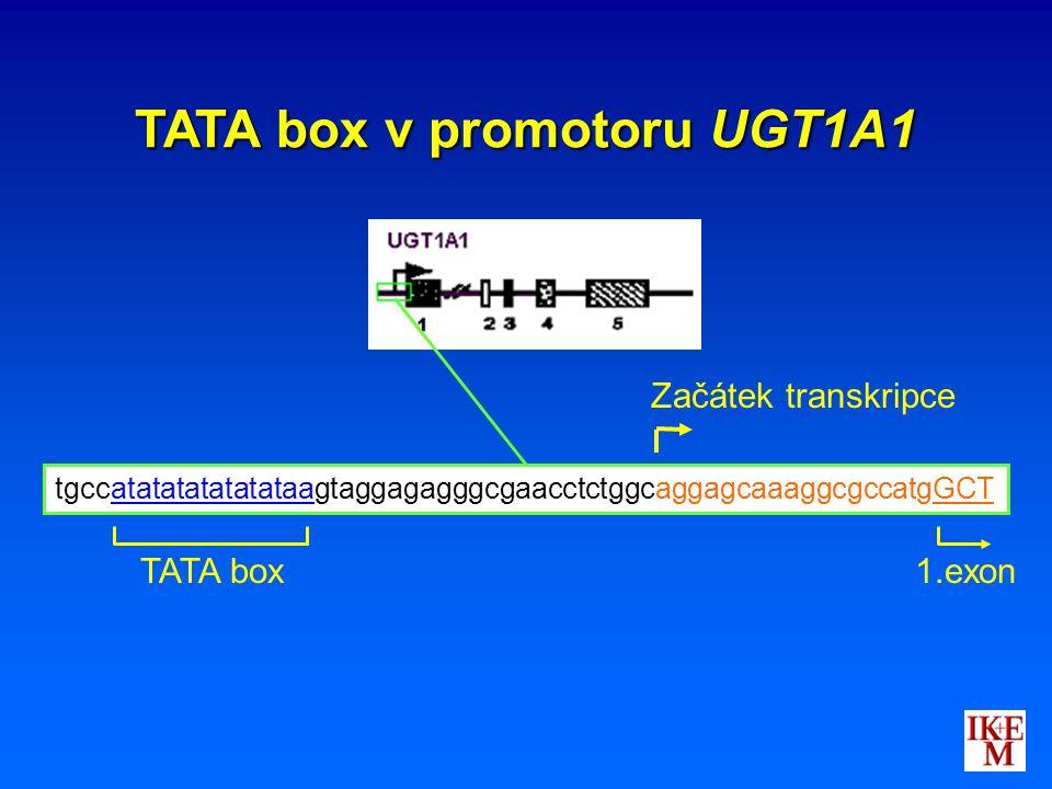 tgccatatatatatatataagtaggagagggcgaacctctggcaggagcaaaggcgccatgGCT TATA box Začátek transkripce 1.exon TATA box v promotoru UGT1A1