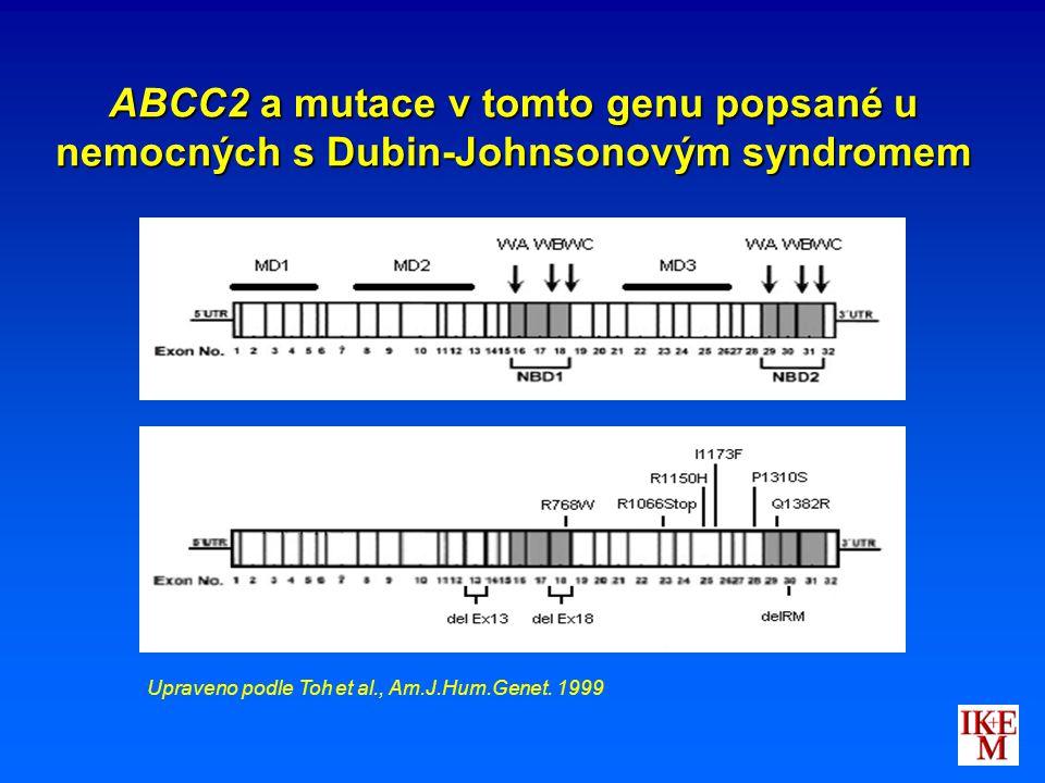 ABCC2 a mutace v tomto genu popsané u nemocných s Dubin-Johnsonovým syndromem Upraveno podle Toh et al., Am.J.Hum.Genet. 1999