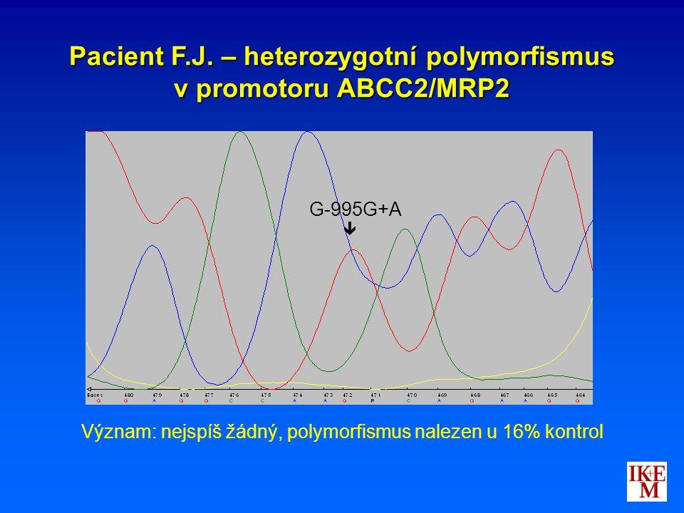 Pacient F.J. – heterozygotní polymorfismus v promotoru ABCC2/MRP2 G-995G+A  Význam: nejspíš žádný, polymorfismus nalezen u 16% kontrol