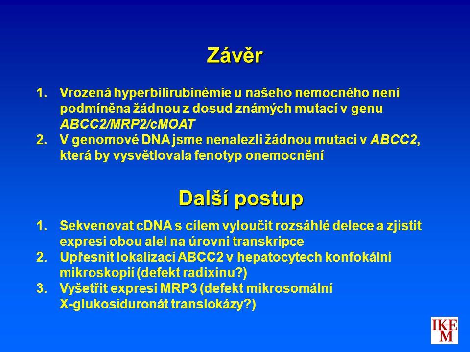 Závěr 1. 1.Vrozená hyperbilirubinémie u našeho nemocného není podmíněna žádnou z dosud známých mutací v genu ABCC2/MRP2/cMOAT 2. 2.V genomové DNA jsme