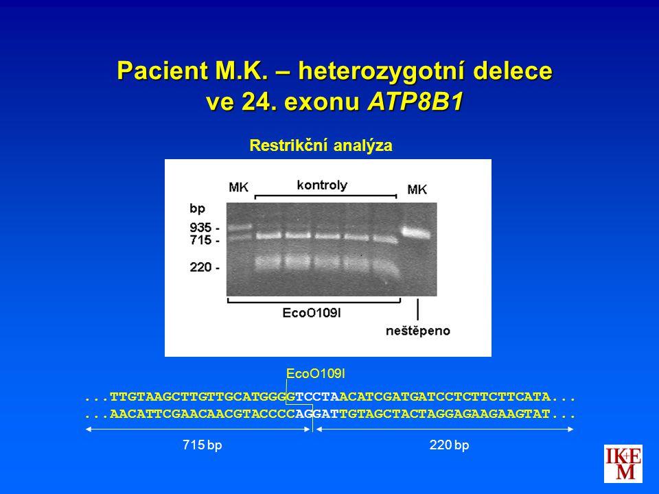 Pacient M.K. – heterozygotní delece ve 24. exonu ATP8B1 Restrikční analýza...TTGTAAGCTTGTTGCATGGGGTCCTAACATCGATGATCCTCTTCTTCATA......AACATTCGAACAACGTA
