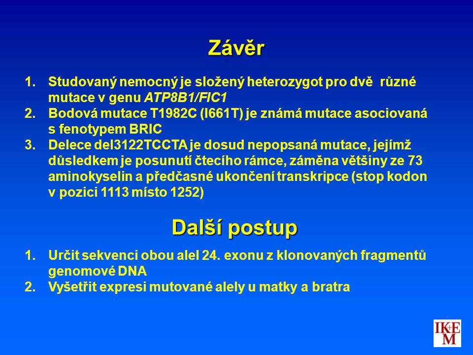 Závěr 1. 1.Studovaný nemocný je složený heterozygot pro dvě různé mutace v genu ATP8B1/FIC1 2. 2.Bodová mutace T1982C (I661T) je známá mutace asociova