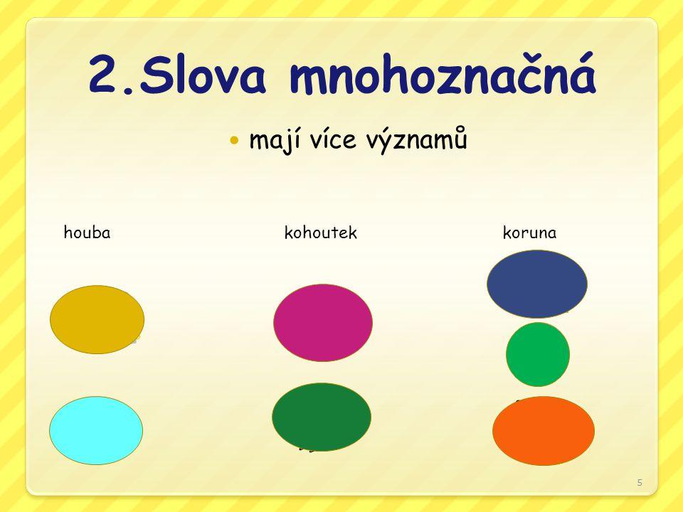 2.Slova mnohoznačná mají více významů houbakohoutekkoruna 5