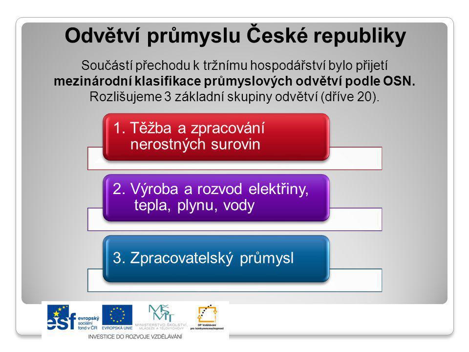 Odvětví průmyslu České republiky Součástí přechodu k tržnímu hospodářství bylo přijetí mezinárodní klasifikace průmyslových odvětví podle OSN. Rozlišu