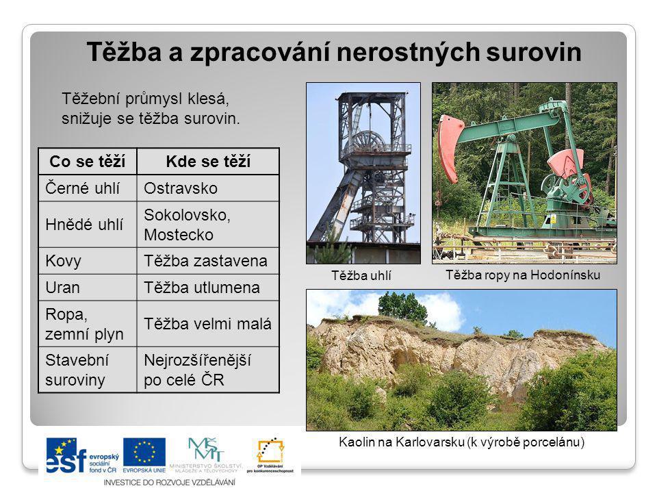 Těžba a zpracování nerostných surovin Těžební průmysl klesá, snižuje se těžba surovin. Co se těžíKde se těží Černé uhlíOstravsko Hnědé uhlí Sokolovsko