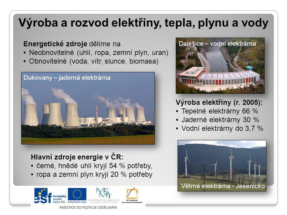 Výroba a rozvod elektřiny, tepla, plynu a vody Energetické zdroje dělíme na ▪Neobnovitelné (uhlí, ropa, zemní plyn, uran) ▪Obnovitelné (voda, vítr, sl