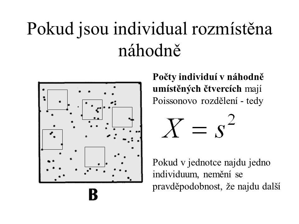 Pokud jsou individual rozmístěna náhodně Počty individuí v náhodně umístěných čtvercích mají Poissonovo rozdělení - tedy Pokud v jednotce najdu jedno