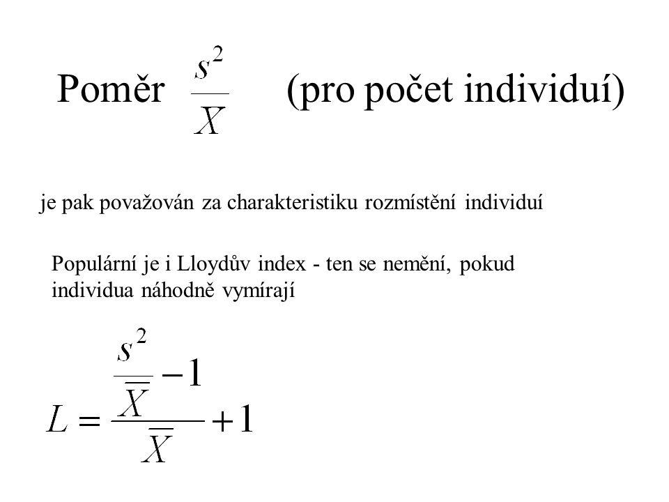 Poměr (pro počet individuí) je pak považován za charakteristiku rozmístění individuí Populární je i Lloydův index - ten se nemění, pokud individua náhodně vymírají