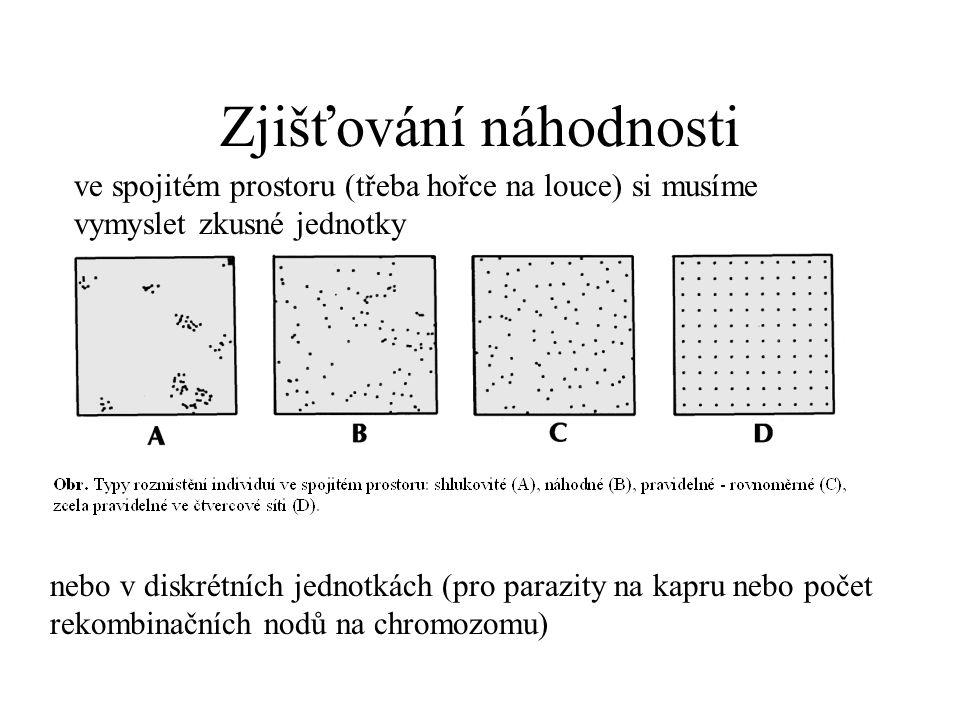 Zjišťování náhodnosti ve spojitém prostoru (třeba hořce na louce) si musíme vymyslet zkusné jednotky nebo v diskrétních jednotkách (pro parazity na ka