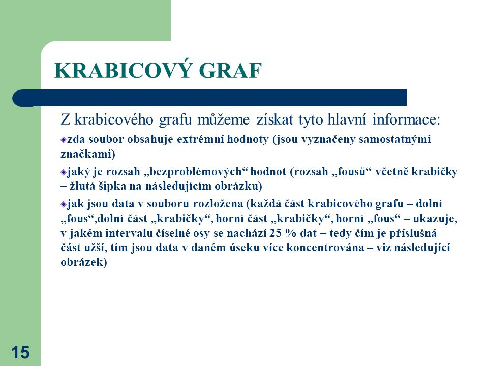 KRABICOVÝ GRAF 15 Z krabicového grafu můžeme získat tyto hlavní informace: zda soubor obsahuje extrémní hodnoty (jsou vyznačeny samostatnými značkami)