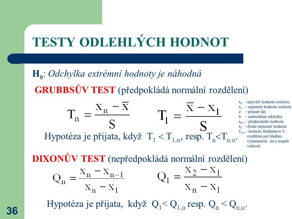 36 TESTY ODLEHLÝCH HODNOT H 0 : Odchylka extrémní hodnoty je náhodná GRUBBSŮV TEST (předpokládá normální rozdělení) Hypotéza je přijata, když T 1  T