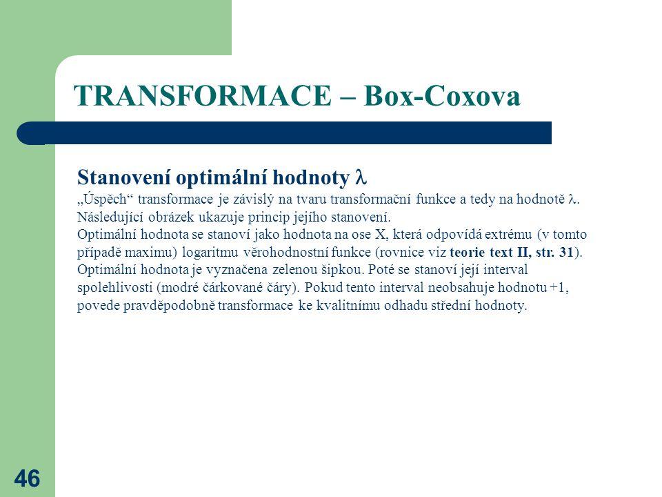 """46 TRANSFORMACE – Box-Coxova Stanovení optimální hodnoty """"Úspěch"""" transformace je závislý na tvaru transformační funkce a tedy na hodnotě. Následující"""