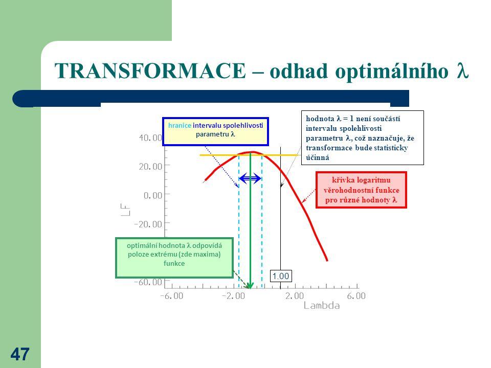 47 TRANSFORMACE – odhad optimálního křivka logaritmu věrohodnostní funkce pro různé hodnoty optimální hodnota odpovídá poloze extrému (zde maxima) fun