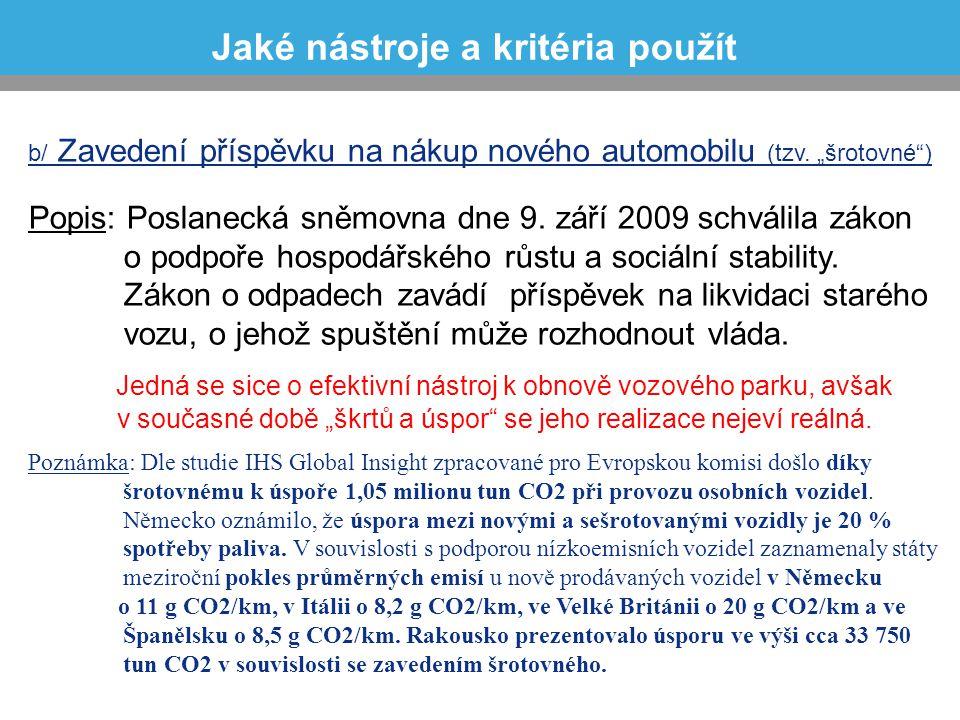 """b/ Zavedení příspěvku na nákup nového automobilu (tzv. """"šrotovné"""") Popis: Poslanecká sněmovna dne 9. září 2009 schválila zákon o podpoře hospodářského"""