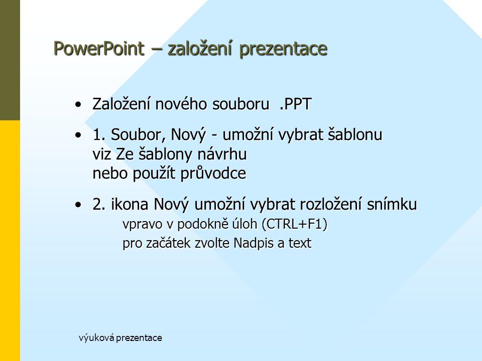 výuková prezentace PowerPoint – založení prezentace Založení nového souboru.PPTZaložení nového souboru.PPT 1.