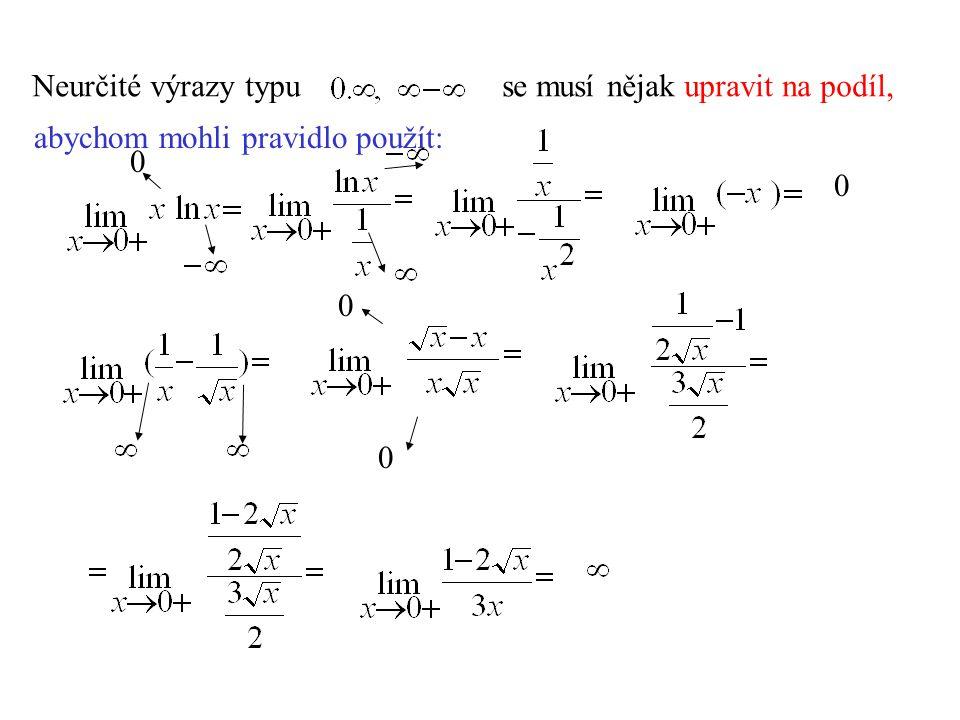 Příklady: a) Rozhodněme, kde je konvexní funkce Vypočtěme druhou derivaci: f´´(x)>0 pro x<0 funkce je konvexní pro záporná x.
