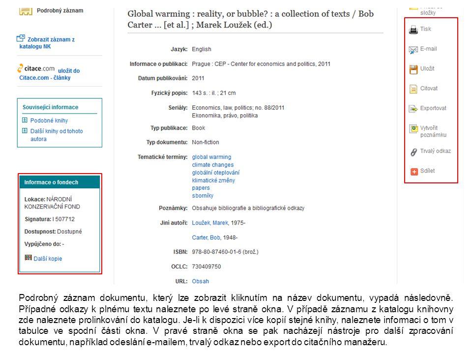 Podrobný záznam dokumentu, který lze zobrazit kliknutím na název dokumentu, vypadá následovně.