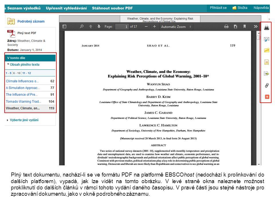 Plný text dokumentu, nachází-li se ve formátu PDF na platformě EBSCOhost (nedochází k prolinkování do dalších platforem), vypadá, jak lze vidět na tomto obrázku.