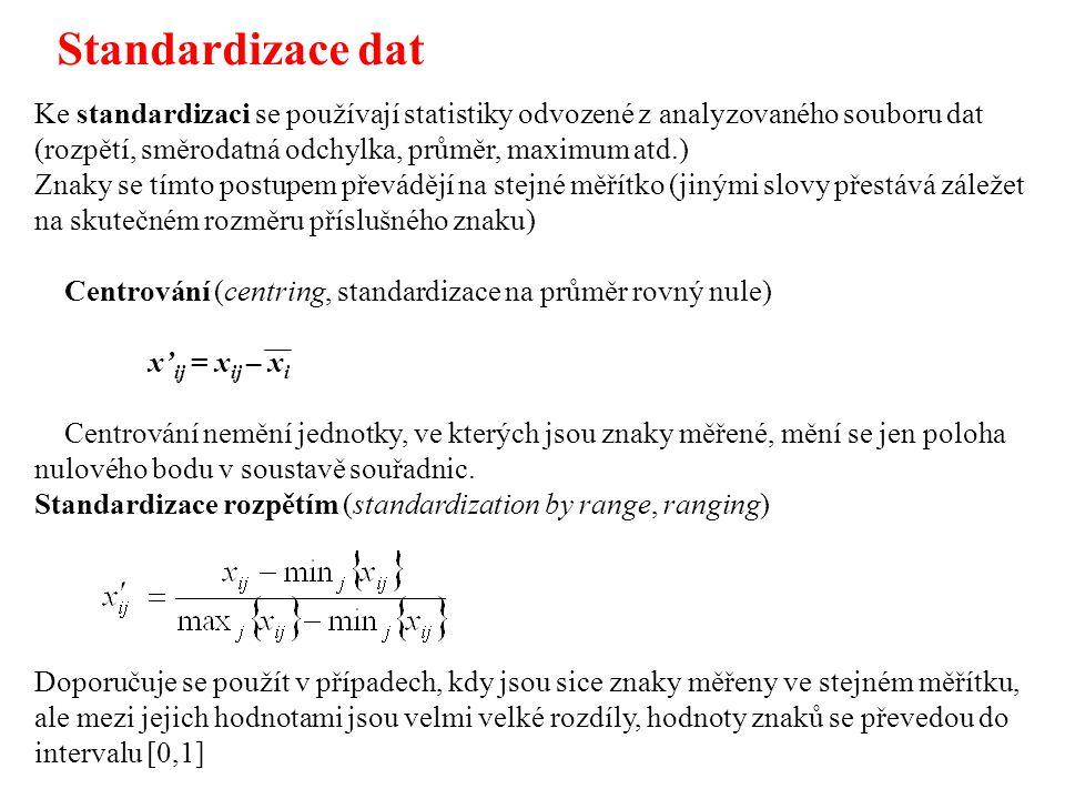 Ke standardizaci se používají statistiky odvozené z analyzovaného souboru dat (rozpětí, směrodatná odchylka, průměr, maximum atd.) Znaky se tímto postupem převádějí na stejné měřítko (jinými slovy přestává záležet na skutečném rozměru příslušného znaku) Centrování (centring, standardizace na průměr rovný nule) x' ij = x ij – x i Centrování nemění jednotky, ve kterých jsou znaky měřené, mění se jen poloha nulového bodu v soustavě souřadnic.