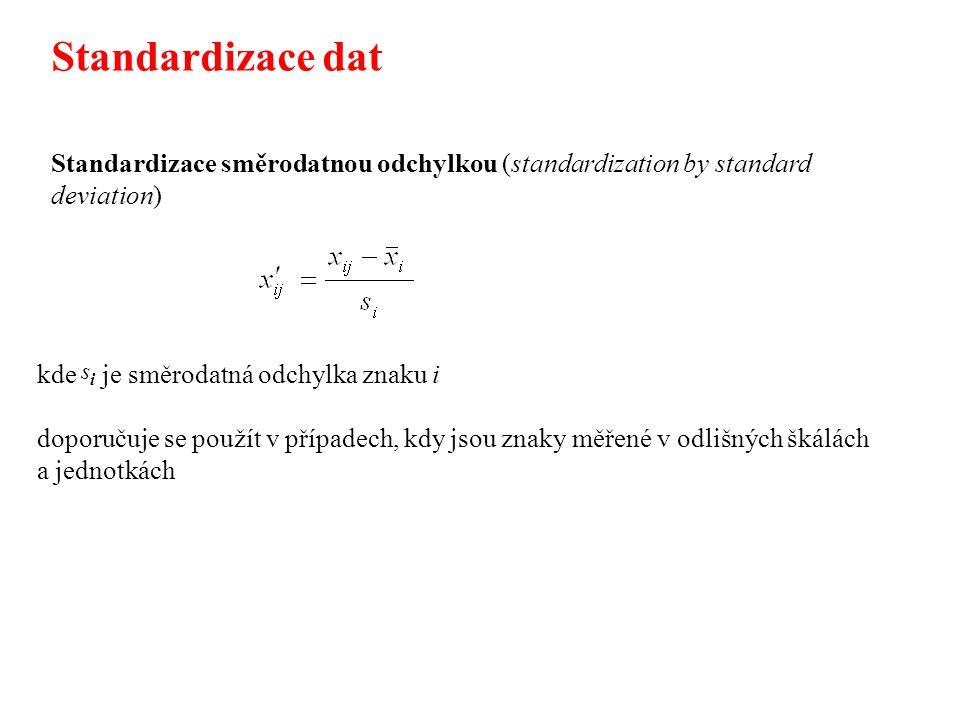 Standardizace směrodatnou odchylkou (standardization by standard deviation) kde je směrodatná odchylka znaku i doporučuje se použít v případech, kdy jsou znaky měřené v odlišných škálách a jednotkách Standardizace dat sisi