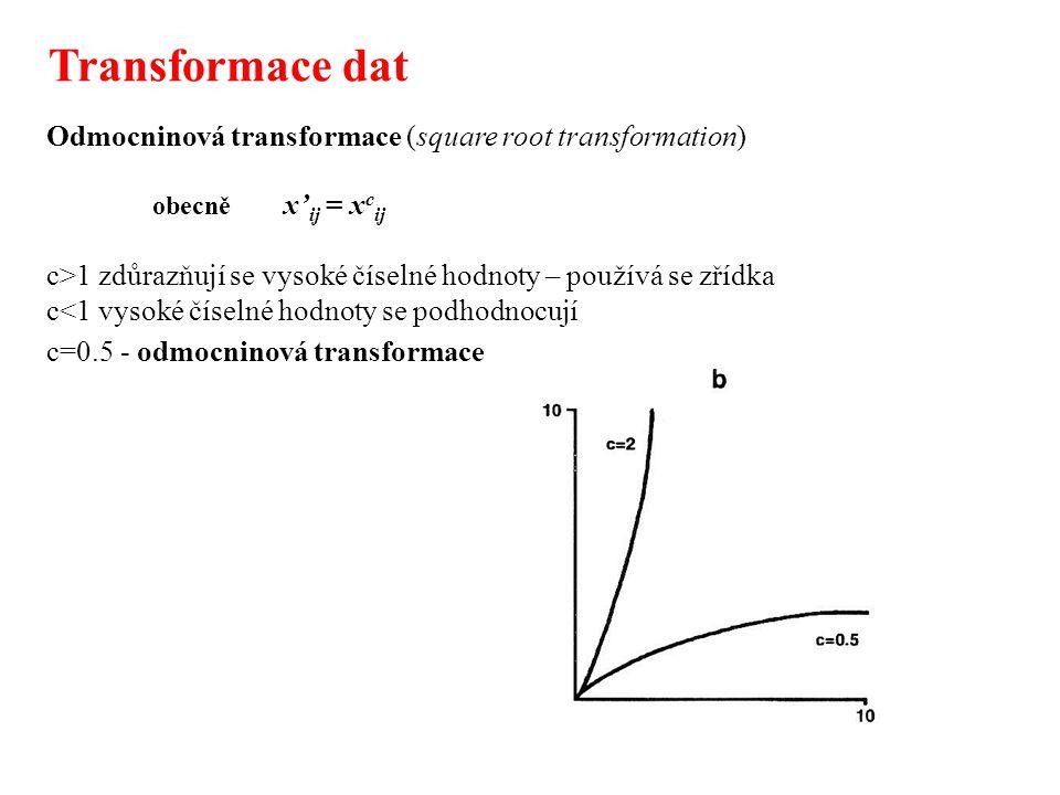 Koeficienty podobnosti pro binární data Jakákoliv funkce d je nepodobností pokud odpovídá alespoň prvním třem pravidlům o metrikách (pokud j=k, pak d jk =0; pokud j  k, pak d jk >0; d jk = d kj ); - většina funkcí nepodobnosti má dolní hranici = 0, horní hranici = 1: 0  d jk  1 - většina funkcí nepodobnosti po transformaci (d jk ) 1/2 vyhovuje všem pravidlům o metrikách a pak představují vzdálenosti obvykle uvažujeme o podobnosti: s jk = 1 - d jk pro identické objekty platí s jk = 1