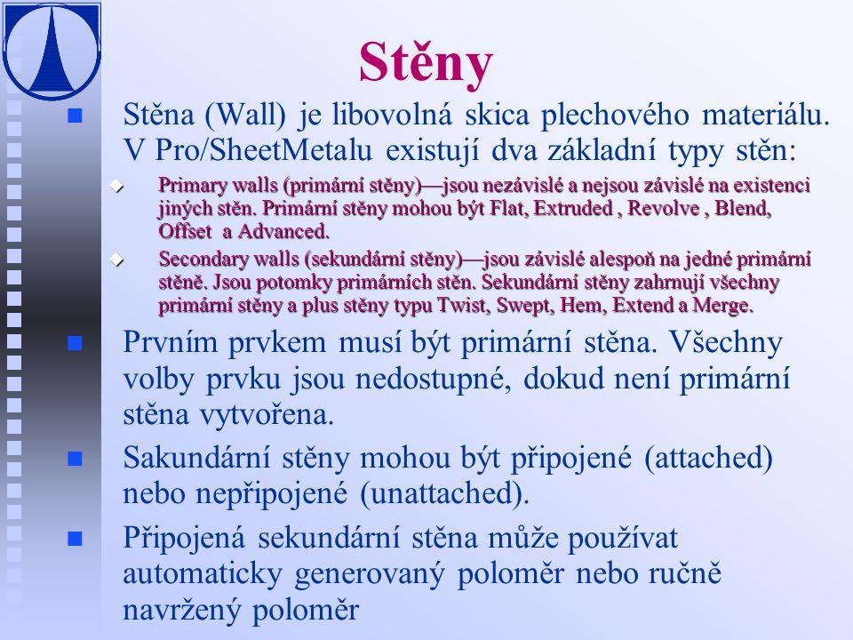 Stěny Stěna (Wall) je libovolná skica plechového materiálu. V Pro/SheetMetalu existují dva základní typy stěn: u Primary walls (primární stěny)—jsou n