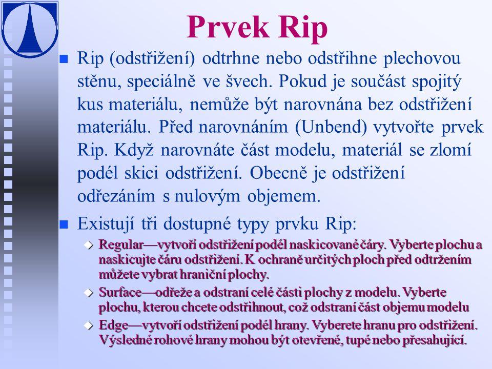 Prvek Rip n Rip (odstřižení) odtrhne nebo odstřihne plechovou stěnu, speciálně ve švech. Pokud je součást spojitý kus materiálu, nemůže být narovnána
