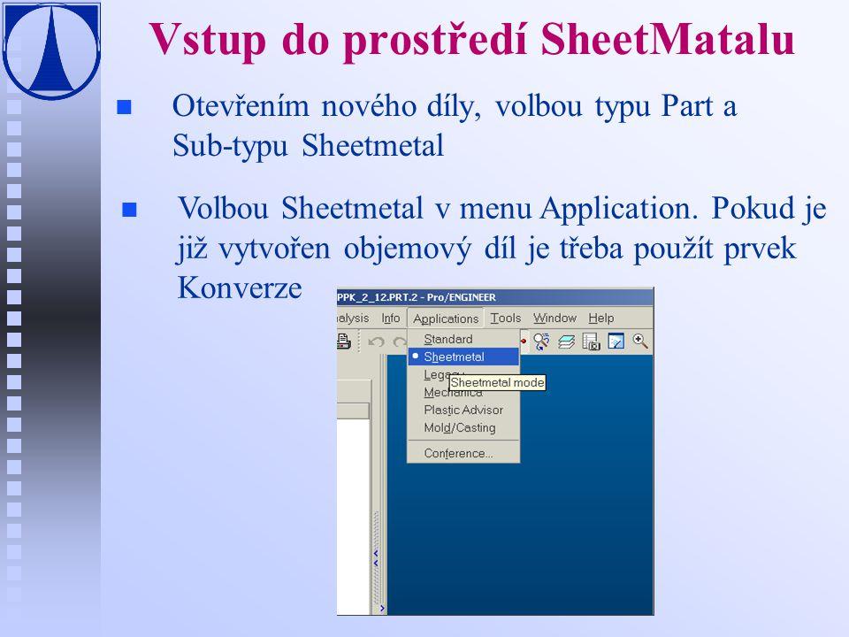 Konverze n n Konverze umožní modifikaci objemových dílů na plechové Kompletní konverze vyžaduje následující dva kroky: u Základní konverze—vytvoří základní konverzi objemové součásti, která pak umožní pracovat v režimu Sheet metal u Konverze sheetmetal prvku—pokud není převedená součást vyrobitelná (schopná se narovnat), je třeba použít další prvek konverze F Point Relief—umístí pomocné body na hrany (vybrané nebo vytvořené).