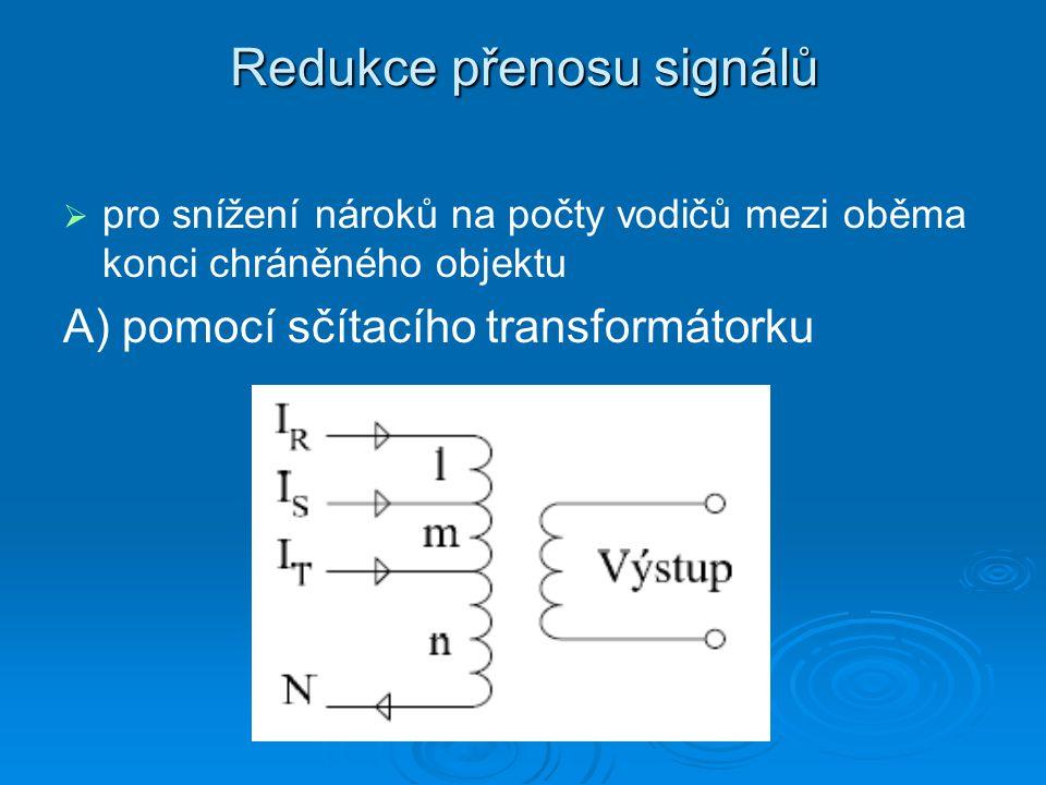 Redukce přenosu signálů   pro snížení nároků na počty vodičů mezi oběma konci chráněného objektu A) pomocí sčítacího transformátorku