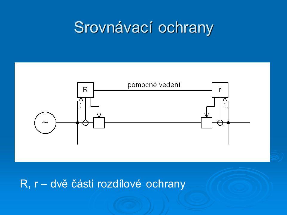 Srovnávací ochrany   A) Ochrany s přímým srovnáním jedním nebo více měřícími členy porovnávají skutečné veličiny na obou koncích chráněného objektu (fázory proudu, výkony, fázový posun mezi proudy….) je možné je použít, pokud to dovoluje vzdálenost obou konců chráněného úseku