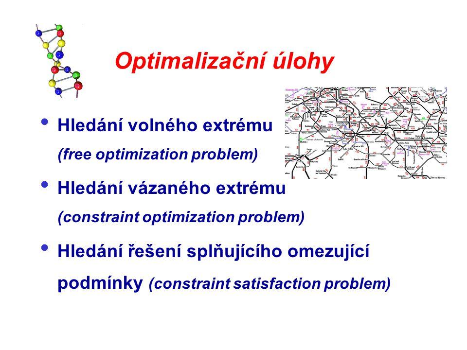 Optimalizační úlohy Hledání volného extrému (free optimization problem) Hledání vázaného extrému (constraint optimization problem) Hledání řešení splň