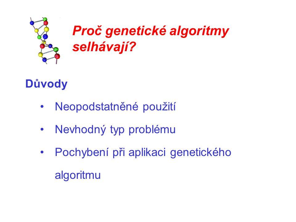 Proč genetické algoritmy selhávají? Důvody Neopodstatněné použití Nevhodný typ problému Pochybení při aplikaci genetického algoritmu