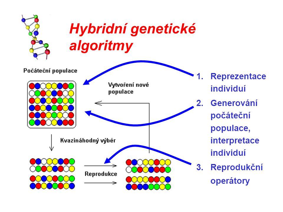 Hybridní genetické algoritmy 1.Reprezentace individuí 2.Generování počáteční populace, interpretace individuí 3.Reprodukční operátory
