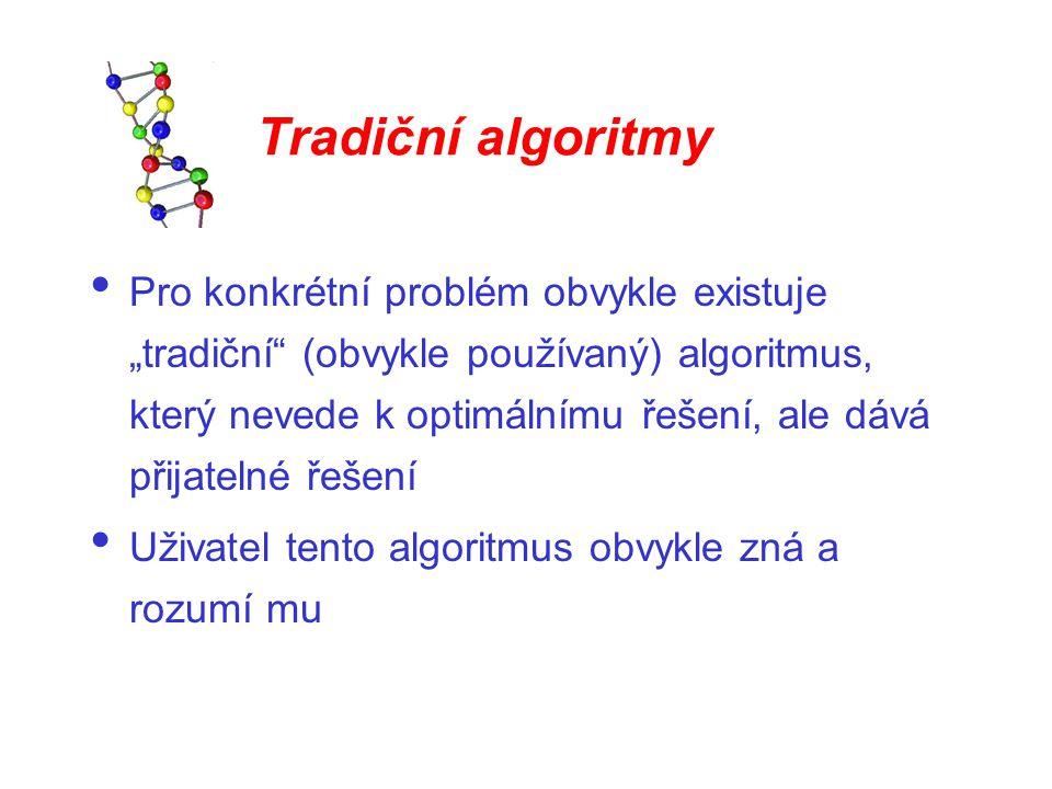 """Tradiční algoritmy Pro konkrétní problém obvykle existuje """"tradiční"""" (obvykle používaný) algoritmus, který nevede k optimálnímu řešení, ale dává přija"""