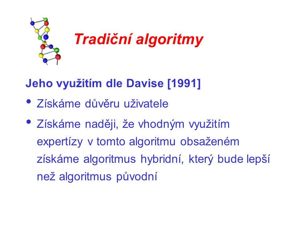 Tradiční algoritmy Jeho využitím dle Davise [1991] Získáme důvěru uživatele Získáme naději, že vhodným využitím expertízy v tomto algoritmu obsaženém