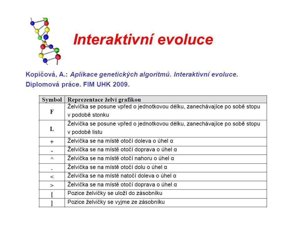 Kopičová, A.: Aplikace genetických algoritmů. Interaktivní evoluce. Diplomová práce. FIM UHK 2009.