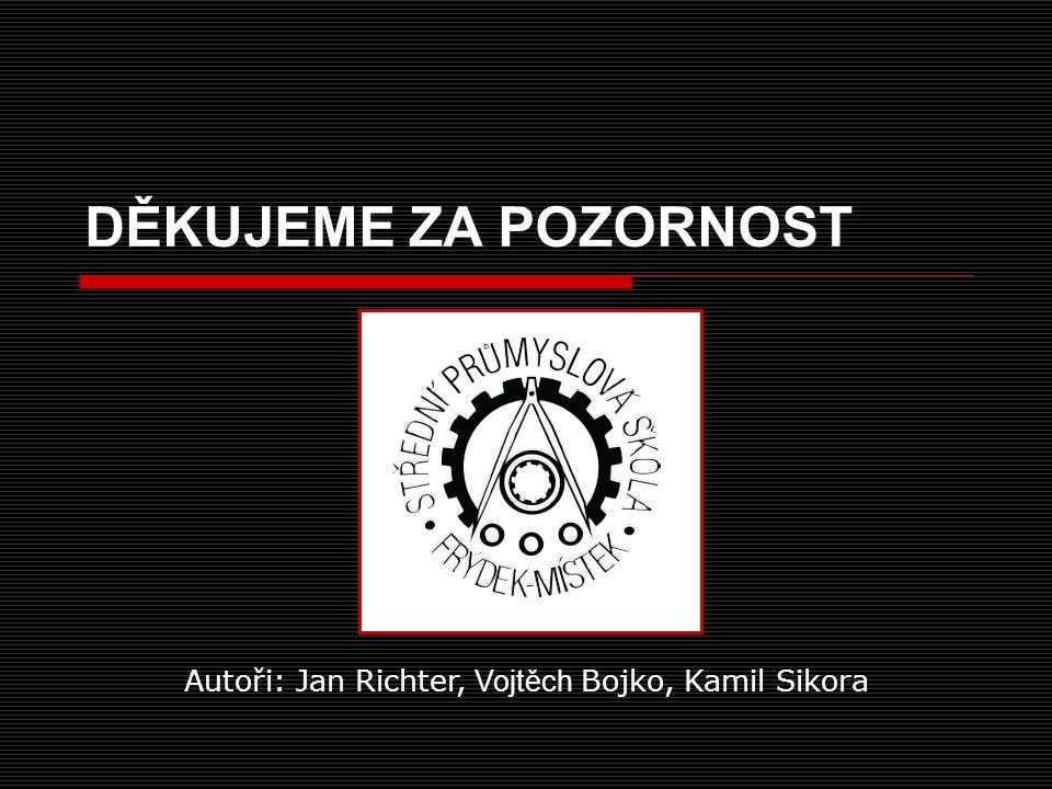 DĚKUJEME ZA POZORNOST Autoři: Jan Richter, Vojtěch Bojko, Kamil Sikora