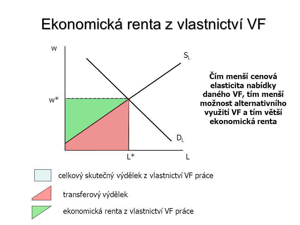 Ekonomická renta z vlastnictví VF Ekonomická renta = příjem z vlastnictví VF – transferový výdělek příjem z vlastnictví VF – skutečně vyplacený příjem vlastníkovi VF (např.
