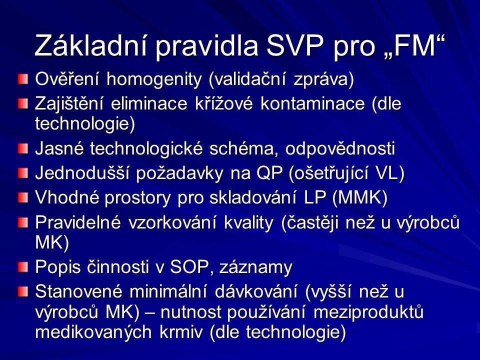 """Základní pravidla SVP pro """"FM"""" Ověření homogenity (validační zpráva) Zajištění eliminace křížové kontaminace (dle technologie) Jasné technologické sch"""