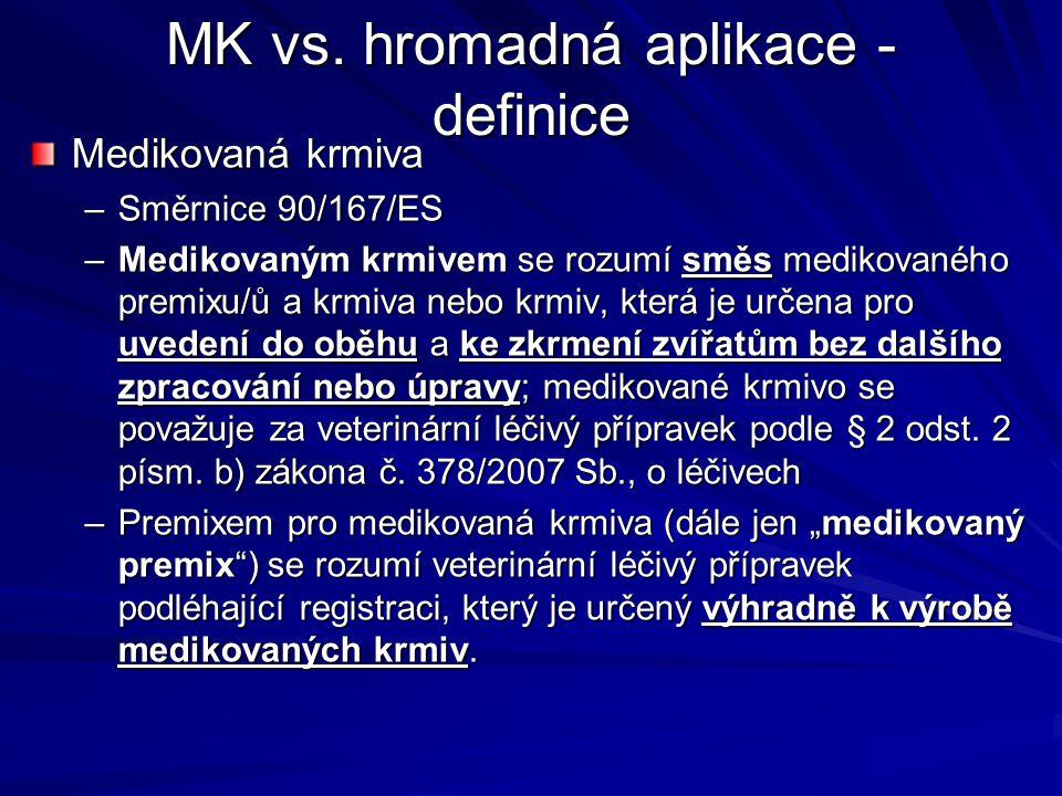 MK vs. hromadná aplikace - definice Medikovaná krmiva –Směrnice 90/167/ES –Medikovaným krmivem se rozumí směs medikovaného premixu/ů a krmiva nebo krm
