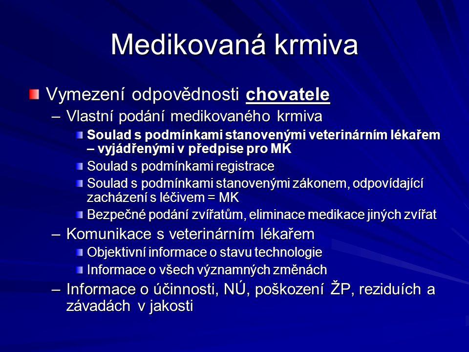 Medikovaná krmiva Vymezení odpovědnosti chovatele –Vlastní podání medikovaného krmiva Soulad s podmínkami stanovenými veterinárním lékařem – vyjádřený