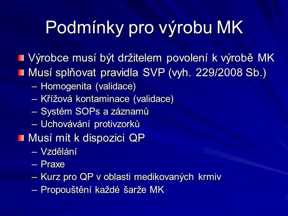 Podmínky pro výrobu MK Výrobce musí být držitelem povolení k výrobě MK Musí splňovat pravidla SVP (vyh. 229/2008 Sb.) –Homogenita (validace) –Křížová