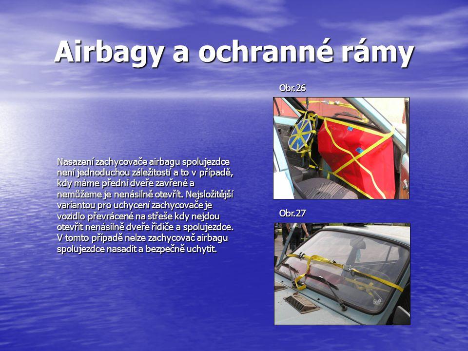 Airbagy a ochranné rámy Nasazení zachycovače airbagu spolujezdce není jednoduchou záležitostí a to v případě, kdy máme přední dveře zavřené a nemůžeme je nenásilně otevřít.